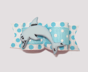 "#2200 - 5/8"" Dog Bow - Playful Dolphin, Blue/White Dots"