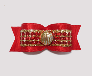 "#2203 - 5/8"" Dog Bow - Gorgeous Red Satin with Sparkly Gold"
