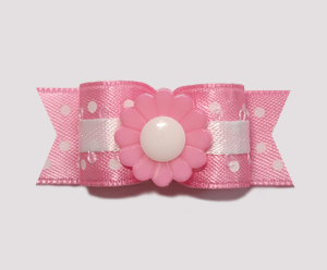 "#2206 - 5/8"" Dog Bow - Princess Daisy, Pink Flower"