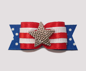 "#2209 - 5/8"" Dog Bow - Patriotic Star, Red, White & Blue w/Dots"