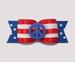 "#2210 - 5/8"" Dog Bow - Red, White & Blue w/Dots, Peace"