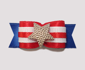 "#2211 - 5/8"" Dog Bow - Patriotic Star, Red, White & Blue"