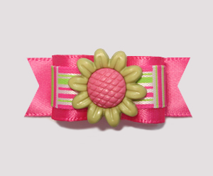 "#2224- 5/8"" Dog Bow- Sweet Flower, Green/Hot Pink, Retro Pattern"