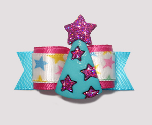 "#2226 - 5/8"" Dog Bow - Star Power, Party Hat Fit For A Star"