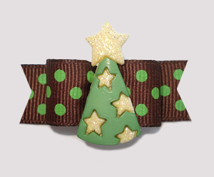 "#2227 - 5/8"" Dog Bow - Party Hat - Chocolate & Mint, Stars"