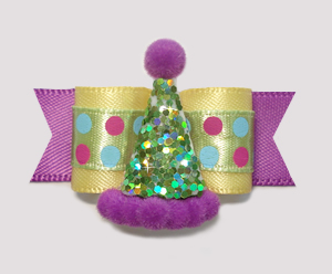 "#2230- 5/8"" Dog Bow- Party Bling! Yellow/Orchid Purple, Fun Dots"