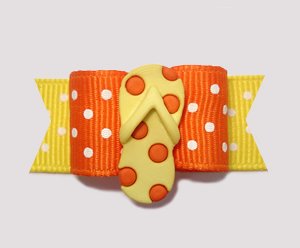 "#2234 - 5/8"" Dog Bow - Summer Sizzle, Orange/Yellow Flip Flop"