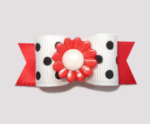"#2238 - 5/8"" Dog Bow - Adorable Black & White with Red Flower"