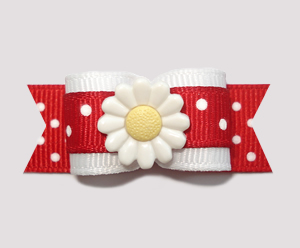 "#2239 - 5/8"" Dog Bow - Cute Red/White Dots, Daisy Delight"