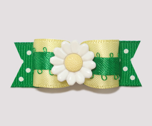 "#2244 - 5/8"" Dog Bow - Baby Yellow/Green, Sweet Summer Daisy"