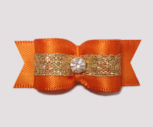 "#2251 - 5/8"" Dog Bow - Beautiful Vibrant Orange Satin w/Sparkle"