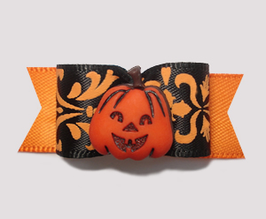 "#2255 - 5/8"" Dog Bow - Beautiful Halloween/Fall Pumpkin"