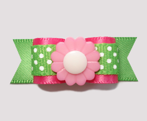 "#2258 - 5/8"" Dog Bow - Sweet Summer Green w/Pink Flower"