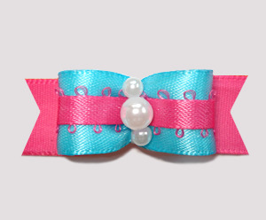"#2262 - 5/8"" Dog Bow - Vibrant Electric Blue/Hot Pink, Pearls"