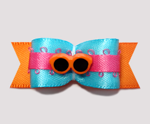 "#2264- 5/8"" Dog Bow- Beach Fun, Electric Blue/Pink/Orange Shades"