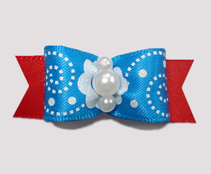 "#2271 - 5/8"" Dog Bow - Delightful Blue Swirl w/Red, Faux Pearls"
