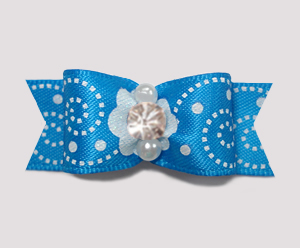 "#2273 - 5/8"" Dog Bow - Delightful Blue Swirl, Sparkly Rhinestone"