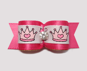 "#2279 - 5/8"" Dog Bow - Gorgeous Princess Crowns, Hot Pink/Gold"