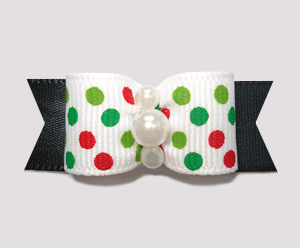 "#2282 - 5/8"" Dog Bow - Festive Candy Cane Dots on Black"