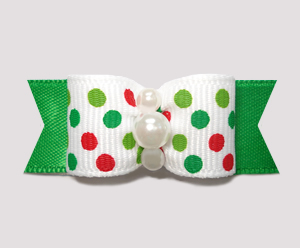 "#2284 - 5/8"" Dog Bow - Festive Candy Cane Dots on Green"