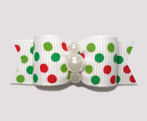 "#2285 - 5/8"" Dog Bow - Festive Candy Cane Dots, Dots, Dots!"