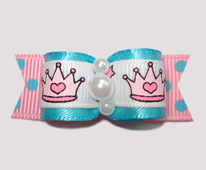 "#2288 - 5/8"" Dog Bow- Princess w/Personality! Electric Blue/Pink"