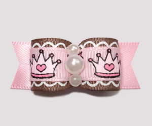 "#2289 - 5/8"" Dog Bow - Little Cinderella Pink & Brown, Crowns"