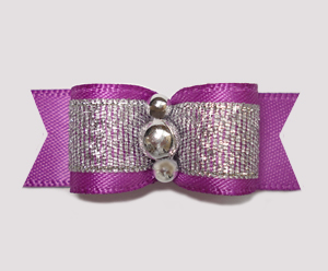 "#2300 - 5/8"" Dog Bow - Sparkly Splendor, Orchid Purple/Silver"