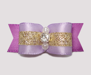 "#2302 - 5/8"" Dog Bow - Princess Lavender/Orchid/Gold, Rhinestone"