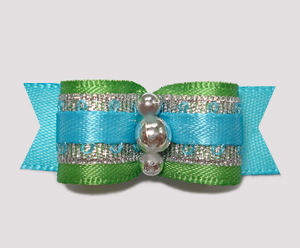 "#2303 - 5/8"" Dog Bow - Green/Blue/Silver, Celebrity Sparkle"
