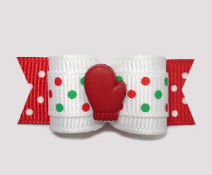 "#2304 - 5/8"" Dog Bow - Let It Snow!, Red Mitten, Candy Cane Dots"