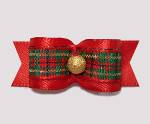 "#2307 - 5/8"" Dog Bow - Classic Holiday, Red Satin/Plaid/Gold"