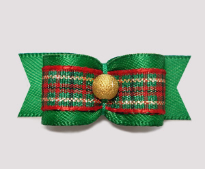 "#2310 - 5/8"" Dog Bow - Classic Holiday, Green Satin/Plaid/Gold"
