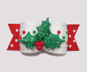"#2311 - 5/8"" Dog Bow - Festive Dots, Happy Holly-Days!"