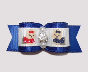 "#2315 - 5/8"" Dog Bow - Darling Yorkies on Blue Satin, Rhinestone"