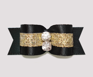 "#2317 - 5/8"" Dog Bow - Beautiful Classic Black Satin w/Sparkle"