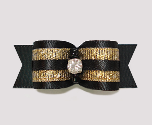 "#2319 - 5/8"" Dog Bow - Gorgeous Showy Black Satin & Gold"