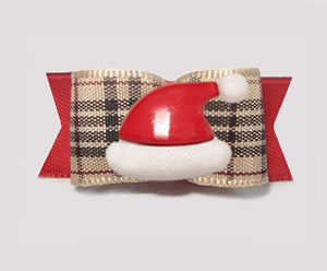 "#2329 - 5/8"" Dog Bow - Designer Plaid Tartan, Santa Hat"