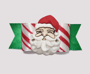 "#2333 - 5/8"" Dog Bow - Candy Cane Delight with Green, Santa"