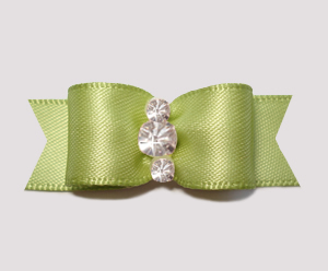 "#2345 - 5/8"" Dog Bow - Satin, Tea Green, Triple Rhinestones"