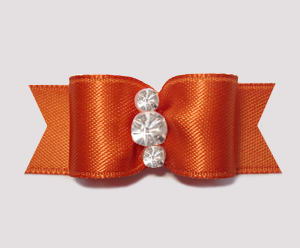 "#2346 - 5/8"" Dog Bow - Satin, Burnt Orange, Triple Rhinestones"