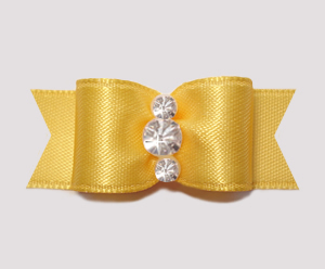 "#2348 - 5/8"" Dog Bow - Satin, Golden Yellow, Triple Rhinestones"