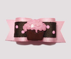 "#2349 - 5/8"" Dog Bow - Little Cupcake, Strawberry Chocolate"