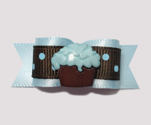 "#2350 - 5/8"" Dog Bow - Little Cupcake, Blueberry Chocolate"