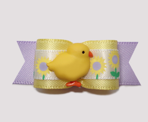 "#2354 - 5/8"" Dog Bow - Adorable Baby Chick in Flower Garden"