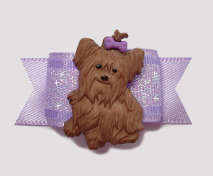 "#2355 - 5/8"" Dog Bow - Adorable Little Yorkie, Lavender Shimmer"