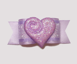 "#2358 - 5/8"" Dog Bow - Sparkly Heart, Sweetheart Lavender"