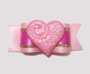 "#2359 - 5/8"" Dog Bow - Sparkly Heart, Sweetheart Pink"