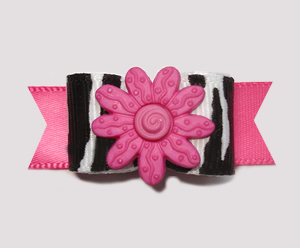 "#2363 - 5/8"" Dog Bow - Wild Zebra Print w/Pink Flower"