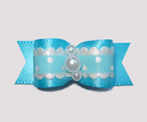 "#2368 - 5/8"" Dog Bow - Country Cottage Ruffle, Sky Blue"